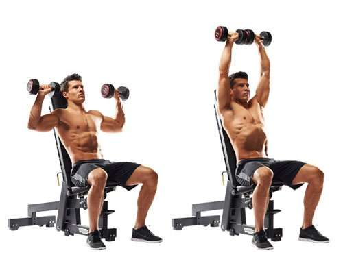 how to do seated dumbbell shoulder press exercise